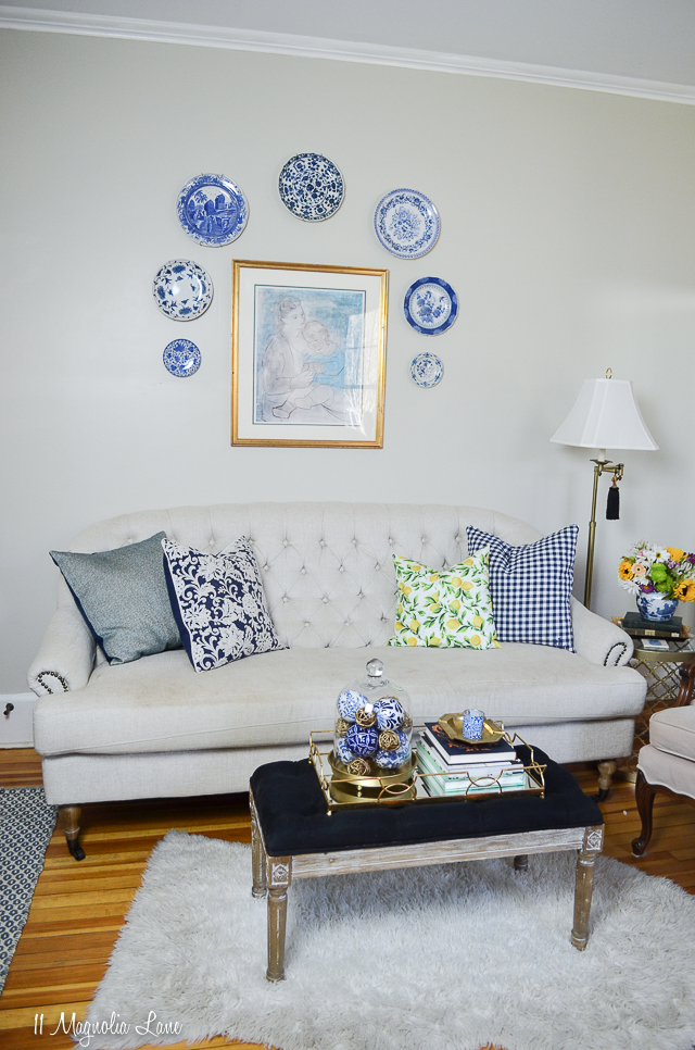 Spring decor in the blue and white living room at the MCC House | 11 Magnolia Lane