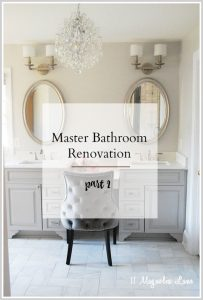 A builder master bathroom gets updated with marble tile, a custom vanity and new updates