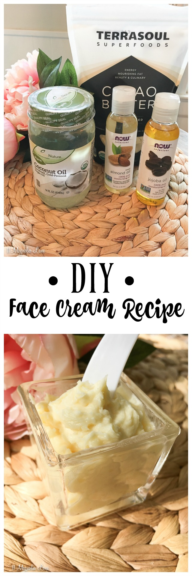 Make your own DIY organic face cream with this easy recipe.  Only five ingredients, and you can mix in your favorite essential oils like tea tree, frankincense, rose, lavender, and more. Much easier and inexpensive than fancy creams!