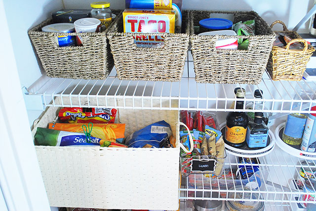 Easily organize bags of chips by putting them in a bin or basket and clipping them with chip clips or binder clips