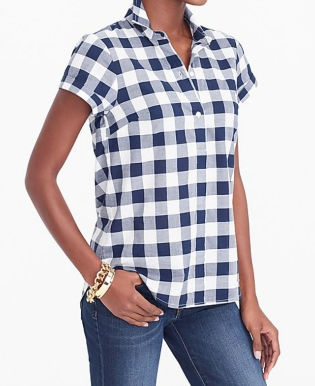 Navy gingham popover top shirt