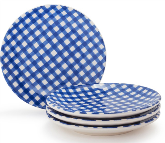 Gingham appetizer plates