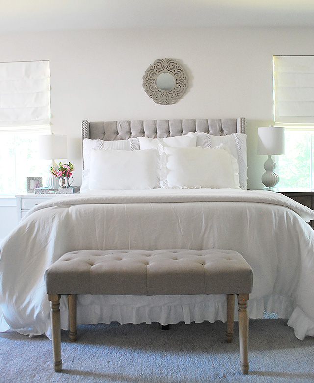 New Roman Shades In Our New Master Bedroom 40 Magnolia Lane Inspiration Roman Shades Bedroom Style Collection