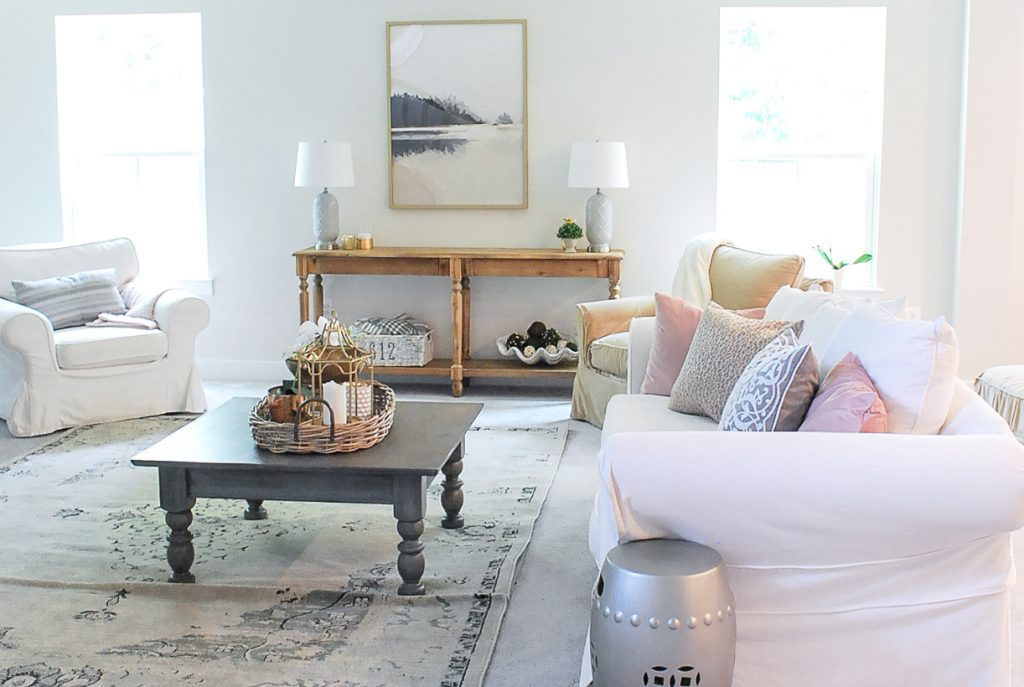 Amy's Living Room decorated in neutral tones