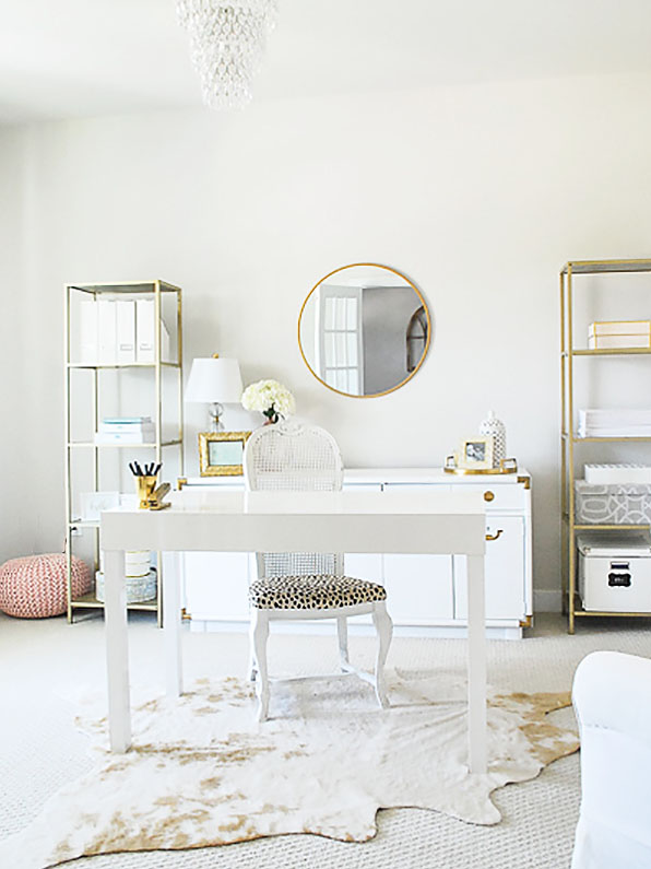 Amy's new home office decorated in pink, cream and blush. Perfect space to work at home.