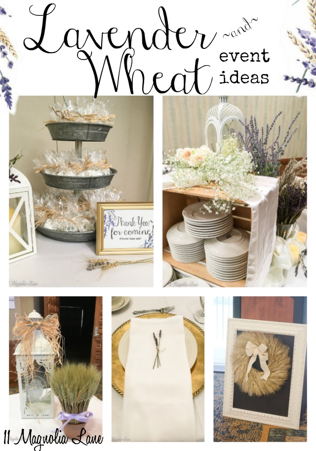 An afternoon welcome reception is decorated with dried lavender, wheat, and white roses.  Great decorating ideas for your event: weddings, receptions, showers, and birthday parties.