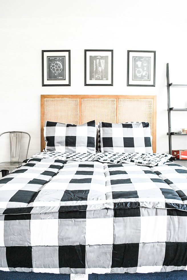 Teen boys room decorated in buffalo check bedding from beddys