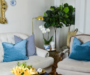 Fall touches from HomeGoods in the living room | 11 Magnolia Lane