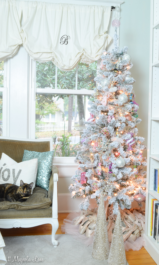 Nutcracker Suite ballet-themed flocked Christmas tree in a young ballerina's bedroom
