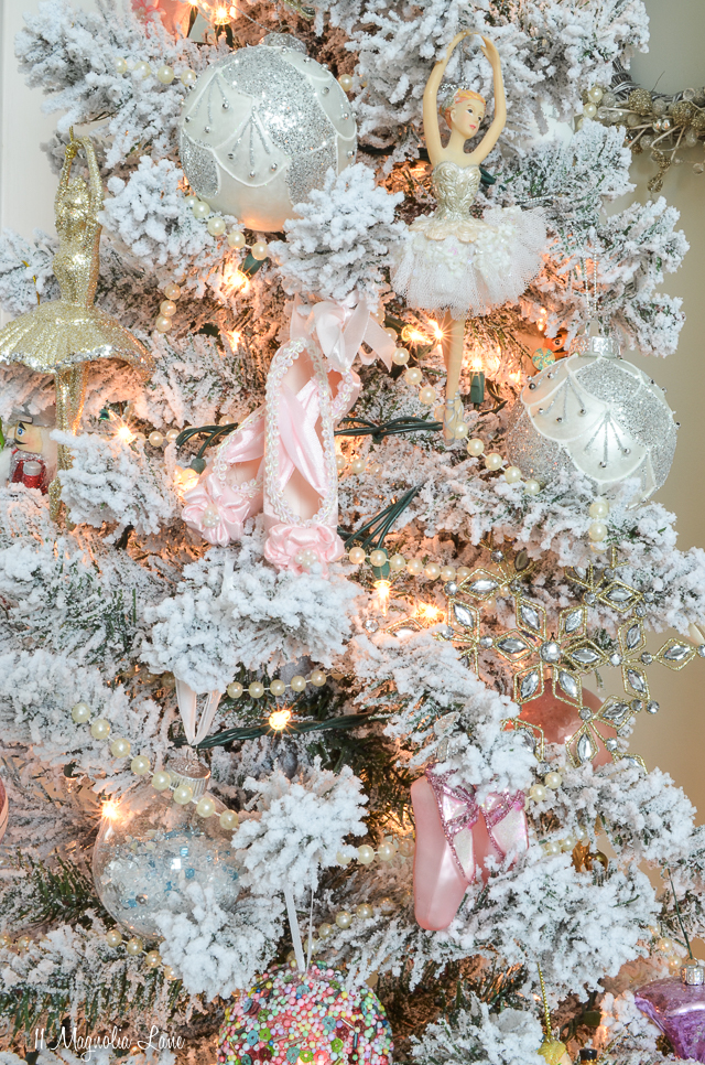 Nutcracker suite ballet themed flocked Christmas tree | 11 Magnolia Lane