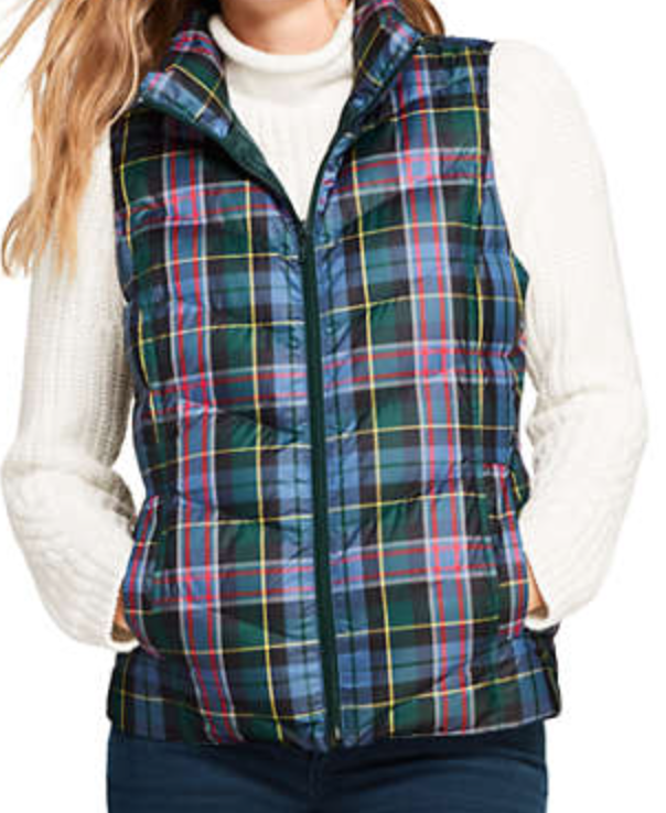 Wisconsin plaid puffer vest