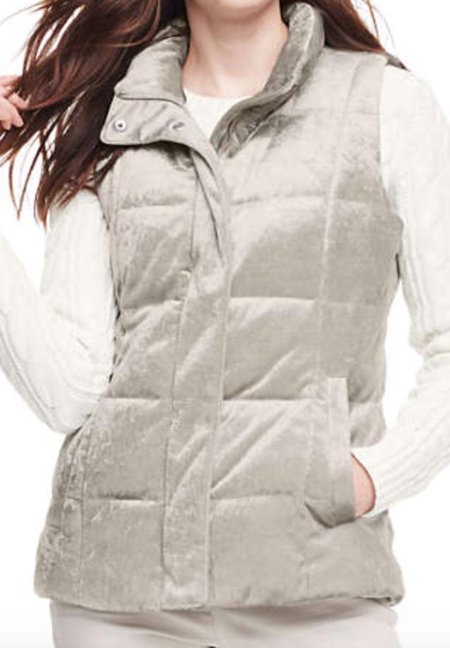 Taupe velvet puffer vest