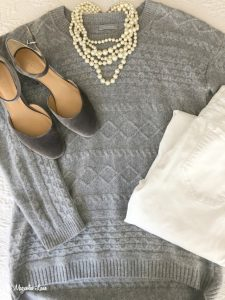 Gray sweater gray velvet heels