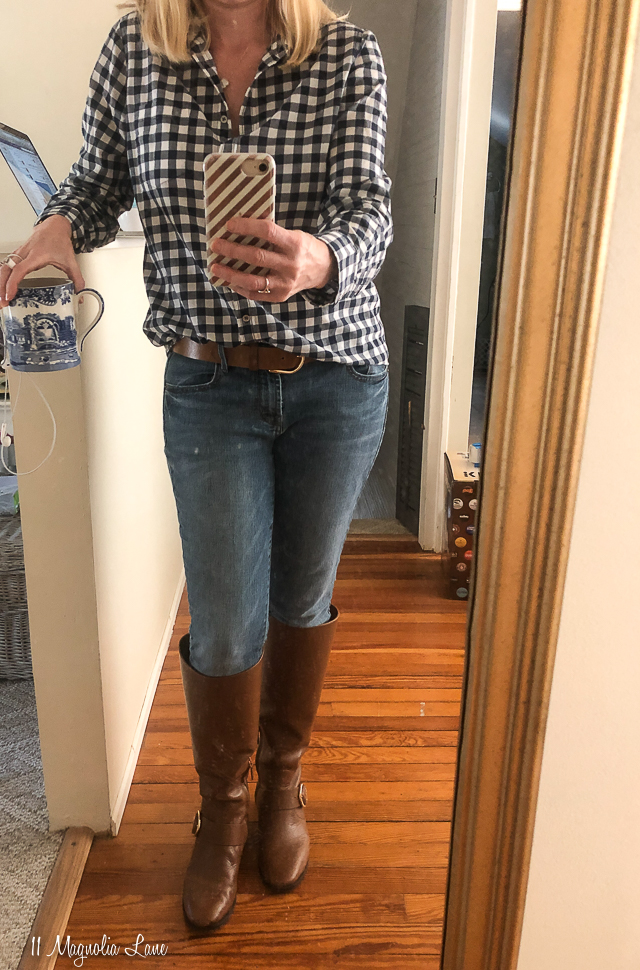 Navy gingham shirt tan boots