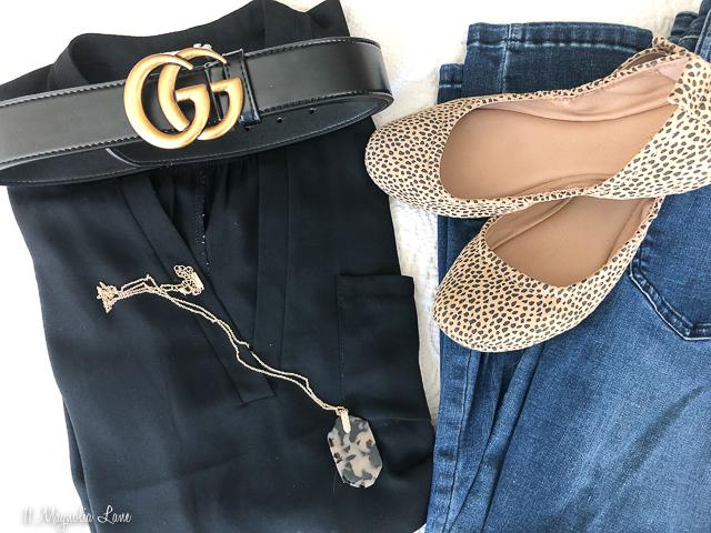 Black tunic Gucci belt leopard ballet flats