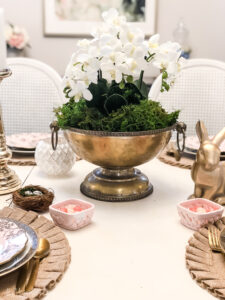 orchid centerpiece and glam and gold easter table