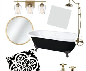 Magnolia Cottage: vintage bathroom with cast iron sink and tub