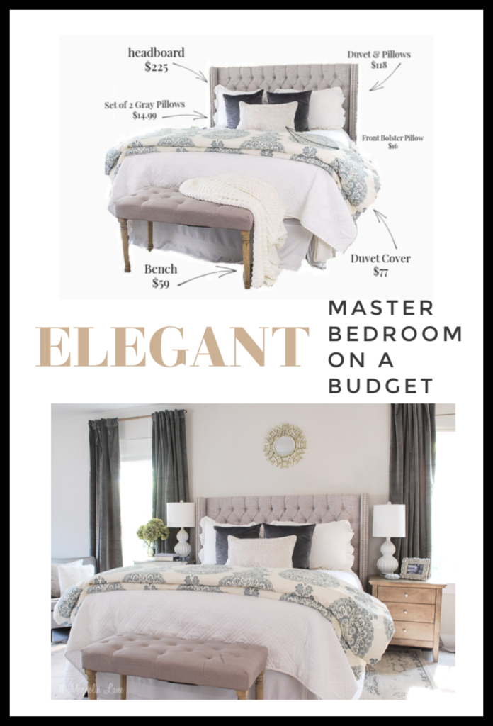 An easy resource to decorate your master bedroom on a budget. This gray and cream room was done on a $1500 budget, with all sources included.