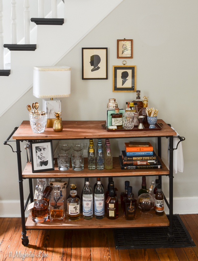 A masculine wood and metal bourbon themed bar cart | 11 Magnolia Lane
