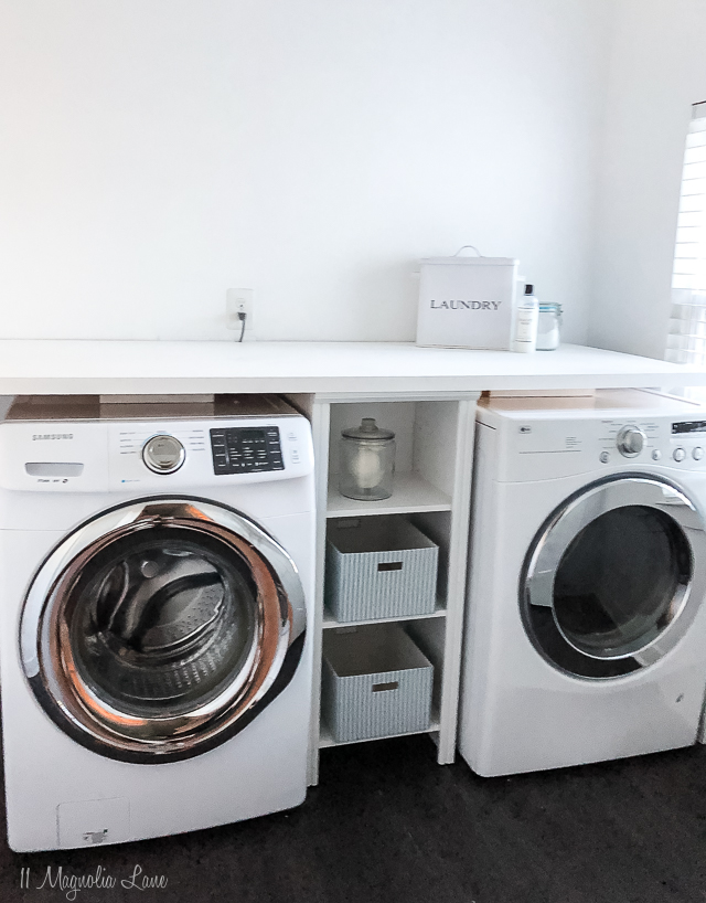 How to build a DIY laundry room shelf over your washer and dryer