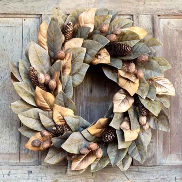 Gilded Faux Magnolia Wreath