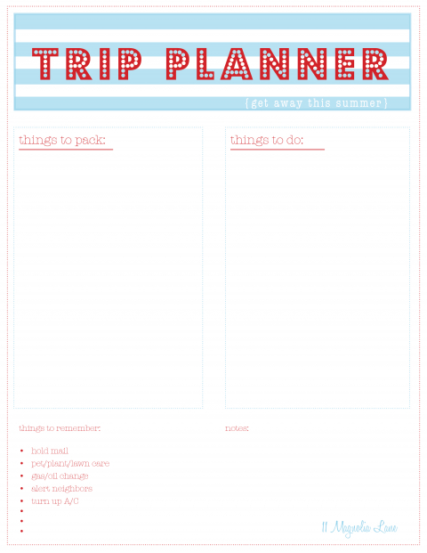 picture relating to Trip Planner Printable identify Welcome SummerFree Summer months Printables 11 Magnolia Lane