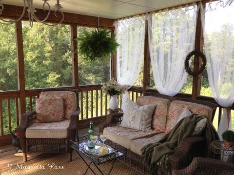 Easy Screened Porch Update: Sheer Outdoor Curtains Add